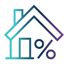house and percent sign icon
