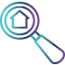 house inside magnifying glass icon